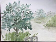 ORIGINALE dipinto ad olio Paesaggio nebbia sopra i laghi