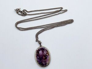 VINTAGE SOLID SILVER AMETHYST CLUSTER PENDANT GEM PURPLE  LADIES NECKLACE