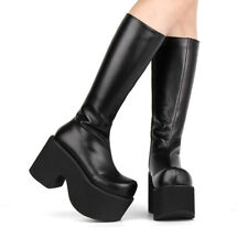 Womens Japanese Fashion Punk Round Toe Knee High Cosplay Boots Block Heels Shoes