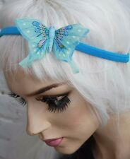 BLUE BUTTERFLY HAIR FOREHEAD HEAD BAND HIPSTER INDIE GRUNGE FESTIVAL