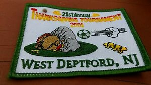 Soccer 21st Annual Thanksgiving Tournament 2001 West Deptford New Jersey Patch