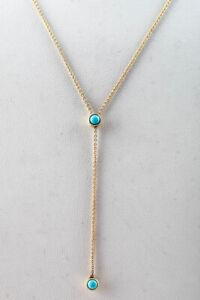 Jenifer Meyer Womens 14KT Gold Turquoise Bezel Lariat Necklace