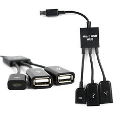 3 in 1 Micro USB HUB MALE TO FEMALE and Double USB 2.0 Host OTG Adapter Cable