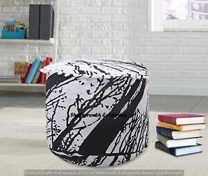 Black & White Locust Tree Print Footstools Round Cotton Ottomans Pillows Sham