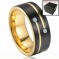 Black Brushed Tungsten Carbide Ring Gold Diamond Mens Wedding Band Comfort Fit
