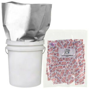 5-5 GALLON 20x30 Mylar Bags 5.25 MIL + 5-2000 cc Oxygen Absorbers Food Storage