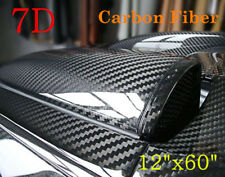 "7D Car Interior Accessories Panel Black Carbon Fiber Vinyl Wrap Sticker 12""x60"""