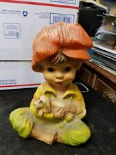 """Vintage 1974 Alice and Andy Universal 10-1/4"""" Chalkware Statues Puppy Kitten"""