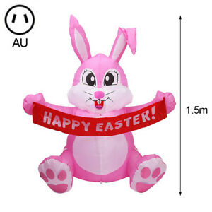1.5m Inflatable Happy Easter Bunny Doll Toy LED Night Light Figure Yard OutdP33
