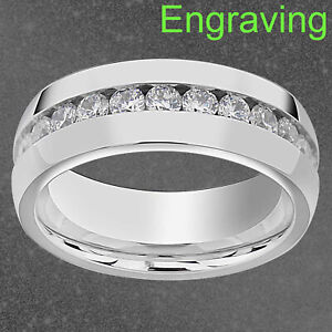 8mm Dazzling Stainless Steel Eternity Multiple Round Cubic Zirconia Wedding Band