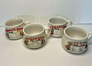 Vintage Recipe Soup Bowls Mugs Cups Set of 4 Chicken Mushroom 2x Tomato