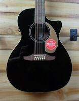 New Fender® Villager 12 String Acoustic Electric Guitar Jetty Black w/Gigbag