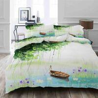 Green Leaf Boat 3D Printing Duvet Quilt Doona Covers Pillow Case Bedding Sets