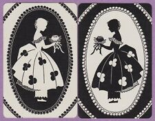 2 Single VINTAGE Swap/Playing Cards SILHOUETTE LADY ID 'FLOWER GIRL WF-7-5/6