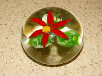 Paperweight Art Glass Murano Style Red Flower
