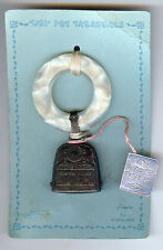 WEBSTER VINTAGE STERLING SILVER BIRTH RECORD RATTLE & TEETHING RING ON CARD
