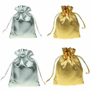 Pack of 12 - 6 gold & 6 Silver Satin Silk Gift Pouches (17cm X 12cm)