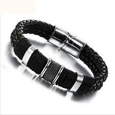 New Sale Cool Men Magnetic Buckle Leather Bracelet Bangle