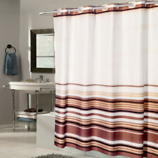 """EZ On Fabric Shower Curtain Stripe With Built in Hooks 70""""x75"""""""