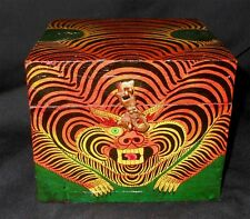 Nepal-Tibet-handpainted-w ood-Tiger-box-with-latch and lock-Unique-Nice
