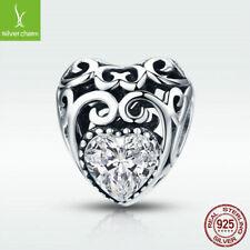 925 Sterling Silver Diamond Charm Bead April Birthstone Fit Chain Birthday Gift