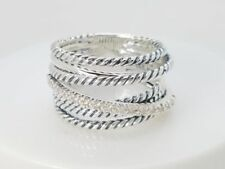 David Yurman Sterling Silver 925 Crossover Wide Cable Pave Diamond Ring Size 9