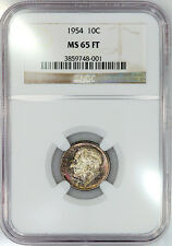 1954 Roosevelt Dime - NGC MS 65 FT (Full Torch)