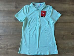 Women's 2020 PUMA Sheer Stripe Golf Polo Mist Green Heather SZ S ( 595826 08 )