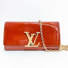 Louis Vuitton Louise Clutch With Carrying Chain Red Gold