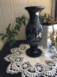 Vintage ETCHED MARBLE VASE,Solid DARK GREY and Very Heavy.A Great Collectable.