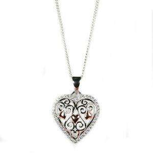 Silver Filigree Heart Pendant on Chain