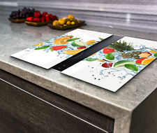 Hob Cover Induction Electric Cooker Chopping Board Glass Set 2 Parts Fruit Water