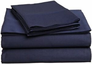 UK King 4 PC Bed Sheet Set Egyptian Cotton 1000 Thread Count Navy Blue Solid