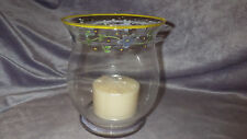 "Pfaltzgraff Melissa 6"" Glass Hurricane Candle Holder hand painted w/candle NIB"