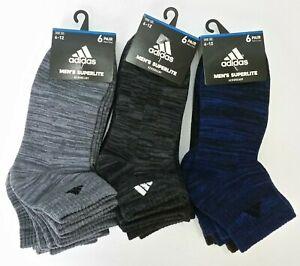 Adidas Men's Superlite Quarter Socks 6 Pairs Size 6-12