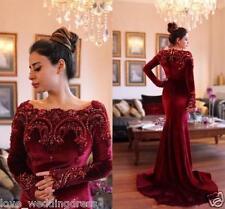 Velvet Burgundy Long Sleeve Mermaid Evening Dress Long Party Pageant Formal Gown