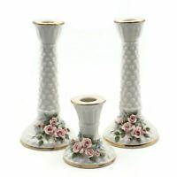 Vintage Three Piece Lefton Porcelain Gold Gilded Hobnail Pink Rose Candle Sticks