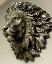 LARGE Bronze Effect Handsome Lion Head Bust Wall Art Sculpture Vintage Retro NEW