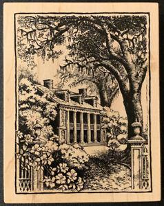 PSX K-2138 Southern Mansion Landscape Rubber Stamp