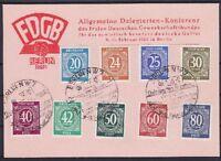 Alliierte Besetzung ex Mi Nr 924 - 935 mit SST Berlin 1946 auf toller FDGB Karte