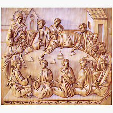"""32"""" Last Supper 3D Art Orthodox Wood Carved religious Icon - Large Jesus"""