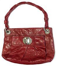 B.Makowsky Red Shoulder Bag Genuine Leather Snake Print Medium Size