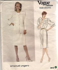 Vogue Designer Sewing Pattern 2912, Ungaro, Jacket, Blouse, Skirt, Size 12 Uncut