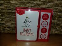 RAE DUNN Christmas Holiday Note Card Set of 12 HAPPY HOLIDAYS Snowman Red NEW