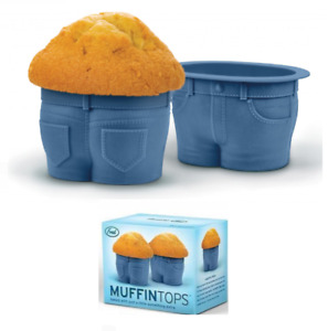 Set Of 4 Silicone Muffin Top Novelty Cupcake Moulds Jeans Shaped Bun Baking Cups