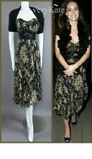 DIANE VON FURSTENBERG BLACK GOLD SILK RUFFLE MIDI DRESS US6 UK10 + BODEN SCARF
