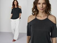 LONG TALL SALLY ASH GREY COLD SHOULDER TOP BLOUSE TUNIC in MODAL SZS 6 TO 22