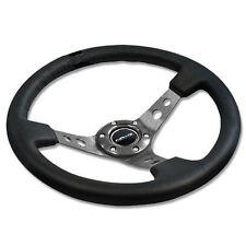 "NRG Steering Wheel 06 BLACK Leather & GUNMETAL Spoke 350mm 3"" DEEP DISH"