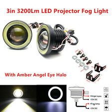 3in LED Projector Fog Light Round Amber Angel Eye Halo 3200Lm 4X4 Car Truck Pair