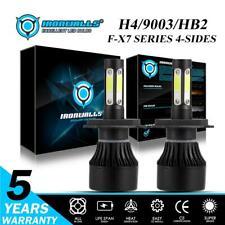 Ironwalls 4 Side 360° 9003 H4 HB2 High Low 2400W LED Headlight 6500K Turbo Bulbs